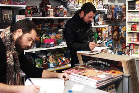 José Domingo e David Rubín en Komic Librería