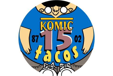 Logotipo conmemorativo do 15 Aniversario de Komic Librería